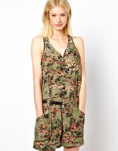 Edun Mesh Back Jumpsuit in Etched Poppies Print