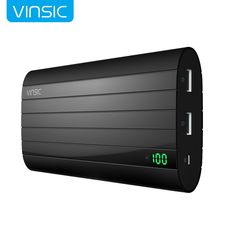 Vinsic  IRON P6 20000mAh External Battery Charger Smart Identification 2.4A Dual USB Port Power Bank Universal  Black >>> Click image to review more details.