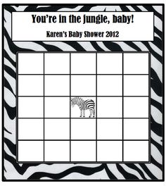 jungle theme baby shower bingo