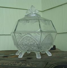 Gillinder EAPG Classic Pattern Glass Acorn Lidded Compote Server 6 Six Log Feet
