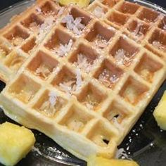 """Hawaiian Waffles with Pineapples and Coconut 