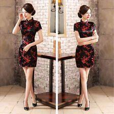 Traditional Chinese Women's Silk Satin Mini Dress Cheongsam Qipao Black SZ S-6XL