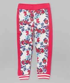 Love this Vivid Pink Floral Fleece Joggers - Girls by Dreamstar on #zulily! #zulilyfinds