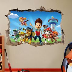 PAW PATROL 3d Wall Sticker Smashed Bedroom Kids decor Vinyl Removable Art DECAL Huge | Large | Small Removable  Mural for Kids Dogs Tv Show
