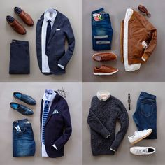 mens flat lay fashions with 4 complete outfits #virileman5