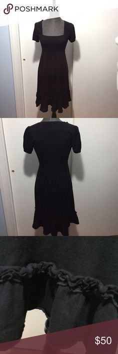 Anne fontaine black square neck a line dress 4 6 Beautiful dress on stretchy and breathable material. The square Neck  is a little low cut for me but will be great on someone with a bit of a larger chest. It is a french 38 and would best fir a US 4 or 6. Cute ruffle detailing along the bottom! Anne Fontaine  Dresses