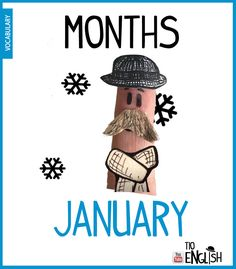 January, months of the year in English. January is cold English Study, English Words, English Lessons, Learn English, Name Of Months, Months In A Year, Vocabulary Words, English Vocabulary, Months In English
