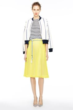 Love the vertical striped jacket and the color palette for our preppy gal for Spring '15