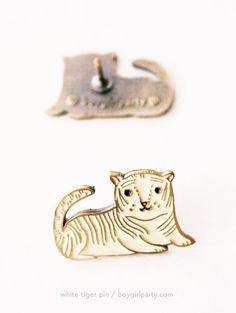 White Tiger Enamel Pin by Susie Ghahremani / the boygirlparty shop   http://shop.boygirlparty.com/collections/_new/products/white-tiger-enamel-pin-brass-lapel-pin #pingame #pin
