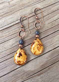 Mustard+Yellow+Earrings+Yellow+Glass+Earrings+Boho+by+Lammergeier,+$20.00