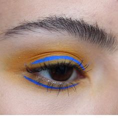 "Today's look using some yummy mustard yellow shades and my favorite blue liner (you can tell by looking at my feed ). This isn't perfect but I kind of like how the squiggly lines and colors play off one another. Using @nyxcosmetics Ultimate brights palette and ""Vivid Sapphire"" vivid brights liner #makeup #mua #colorful #nyxcosmetics #brows #liner #photography #potd"