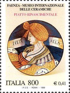 """1999 - """"I tesori dei musei e degli archivi nazionali"""": Museo internazionale delle ceramiche, a Faenza - piatto in maiolica del XV secolo raffigurante un busto di donna in costume rinascimentale"""