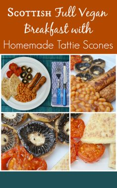 First start with homemade tatties scones, then add toast, vegan sausages, grilled tomatoes, grilled mushrooms, slices of veggie haggis, hash browns, baked beans and oatcakes. Depending how hungry you are.  #breakast #vegan #Scottish