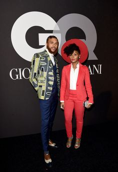 Janelle Monae Photos - Janelle Monae (R) and guest attend GQ and Giorgio Armani Grammys After Party at Hollywood Athletic Club on February 2015 in Hollywood, California. - GQ and Giorgio Armani Grammy Afterparty African Clothing For Men, African Men Fashion, African Shirts, African Beauty, Grammy Fashion, Moda Afro, Mode Costume, Latest Clothes For Men, Tomboy Chic