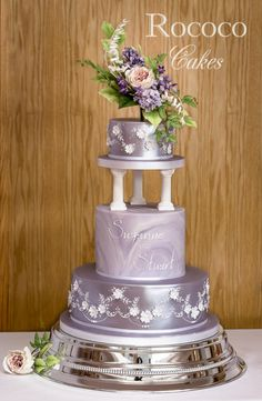 Wedding Cakes Purple Wedding Cake by Rococo Cakes - Wedding Cake Fresh Flowers, Summer Wedding Cakes, Purple Wedding Cakes, Themed Wedding Cakes, Amazing Wedding Cakes, Elegant Wedding Cakes, Elegant Cakes, Wedding Cake Designs, Wedding Cake Toppers