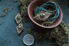Купить Этнический комплект из кулона и сережек Rhomb - комплект украшений, этнический кулон, этнический комплект