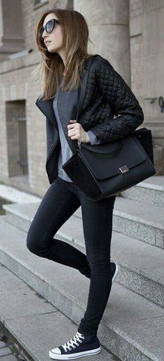❤️ jeans + converse + grey sweater + jacket (all black with texture)