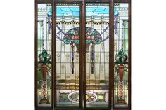 4 PANEL STAINED PAINTED GLASS OAK ENTRY WAY.