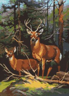 Deers in the Forest B//W Cross Stitch Chart BUY 1 GET 1 HALF PRICE