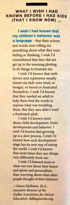 What I wish I had known before I had kids.... Learned this along the way