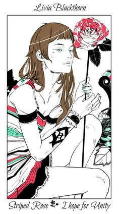 The Blackthorn twins: Livia with a striped rose. Livvy is the peacemaker in the family. - The language of flowers (picked by C.Clare, art by C.Jean)