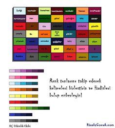 Boyalı Kutucuklarla Hadis Etkinliği   Etkinlikler - Risale Çocuk Periodic Table, Islam, Website, Periotic Table