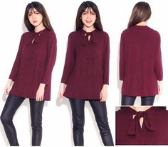 Fashionlicious - online shop indonesia branded: CATO Bowneck Blouse - Burgundy