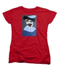 Patrick Francis Women's Red Designer T-Shirt featuring the painting Young Rembrandt In A Plumed Hat 2014 - After Rembrandt by Patrick Francis