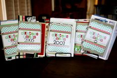Good idea for saving and displaying old Christmas photo cards...with a printable template for the cover.