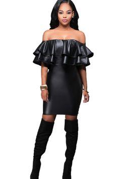 Black Off Shoulder Ruffles Sexy Bodycon Dress
