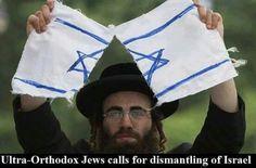 Ultraortodoxo destruye la bandera del regimen sionista
