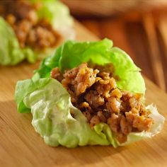 Asian Chicken Wraps in Lettuce Leaves. Crisp lettuce is refreshing and cuts carbs. #chickenrecipes #lowcarbrecipes
