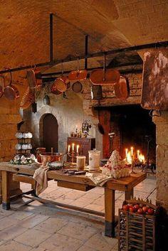 Château de la Ferté St Aubin - Loiret, France - an old kitchen space French Kitchen, Copper Kitchen, Old Kitchen, Rustic Kitchen, Country Kitchen, Copper Pots, Barn Kitchen, Basement Kitchen, Kitchen Decor