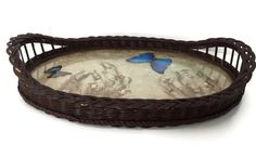Antique Wicker Basket with Butterflies and Dried Flowers Preserved in Glass Arts and Crafts Period c1880-1910