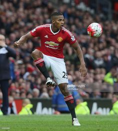 Antonio Valencia of Manchester United in action during the Barclays Premier League match between Manchester United and Leicester City at Old Trafford on May 1, 2016 in Manchester, England.