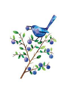 Sloe Eater Bird Watercolor Illustration Print Handmade Decoration Purple Feather Leaves Nature on Etsy, $23.00