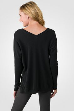 Black Cashmere Oversized Double V Dolman Sweater [ JCashmere.com ]