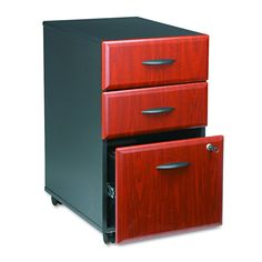 Series A 3 Drawer Mobile File Cabinet in Hansen Cherry and Galaxy