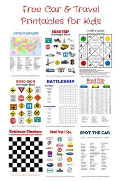 Free Car & Travel Printables: Hangman, Tic Tac Toe, Battleship, License Plate Game, Road Trip I Spy, Scavenger Hunts, Cootie Catcher, and More