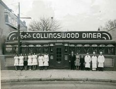 "Joe's Collingswood Diner. ""Salad Works"" is in this location now. Note over the ""R"" on the sign, a rooftop of a house on Lincoln Ave that still can be seen today. Comment and Photo by Cliff Brunker."