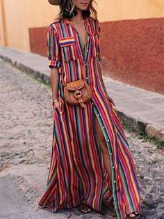 2019 Boho Summer Women Beach Dress Spring Ladies Short Sleeve Maxi Shirt Dress Casual Rainbow Print Long Dresses S Maxi Shirts, Maxi Shirt Dress, Maxi Dress With Sleeves, Short Sleeve Dresses, Short Sleeves, Shirtdress Outfit, Long Sleeve Maxi, Summer Dresses For Women, Dresses For Sale