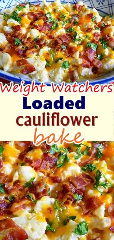 Loaded cauliflower bake This loaded cauliflower casserole is a great low-carb, high-fat dish when you want to enjoy a comforting, wholesome meal while staying weight watchers. Don't forget to Pin this so it will be SAVED to your tim Skinny Recipes, Ww Recipes, Vegetable Recipes, Cooking Recipes, Healthy Recipes, Waffle Recipes, Dessert Recipes, Snacks Recipes, Burger Recipes