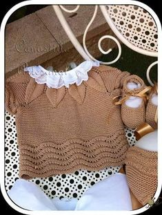 Embroidered Baby Vest Making - Babykleidung Crochet Baby Dress Pattern, Baby Dress Patterns, Baby Knitting Patterns, Knitting For Kids, Crochet For Kids, Baby Overall, Pull Bebe, Baby Cardigan, Baby Sweaters