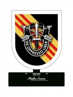 From the Altogether American licensed collection, this 5th Special Forces Group Vietnam Table Top Sign measures 6 inches by 7 inches and weighs in at 1 lb(s). This custom metal shape is hand made in t