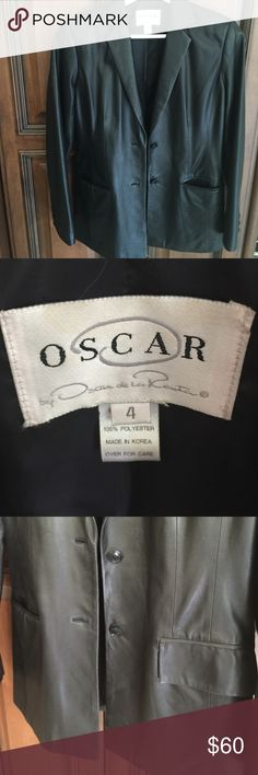 """Super soft Oscar black leather BUTTERY SOFT!!Detailed to excellence w perfect darting to give full lines, two buttons, pockets have flaps that can be worn in w clean look or out for casual ,15"""" shoulder seam to seam, 23"""" sleeve, 27"""" shoulder to bottom length, 20"""" armpit to bottom,buttoned waist 16"""". Perfect Oscar de la Renta size 4 Oscar de la Renta Jackets & Coats Blazers"""