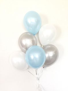 Blue and Gray Balloons | Blue and White Balloon Bouquet | Boy Oh Boy Balloons | Blue and Gray Baby Shower Decor | Blue Balloons