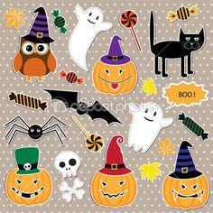 Векторный набор наклеек Хэллоуин — Стоковая иллюстрация #13604806