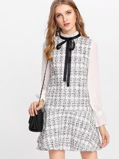 Shop Frilled Neck Drop Waist Tweed Dress online. SheIn offers Frilled Neck Drop Waist Tweed Dress & more to fit your fashionable needs.