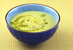 Recipe for cream of corn soup with basil oil - Soup Chick®