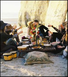 boho dinner party -- I would SO LOVE to attend (or host) a party on a beach (or even just in the backyard) like this!!